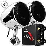 GoHawk TN4 2.1 Channel Amplifier 4' Full Range Waterproof Bluetooth Motorcycle Stereo Speakers Audio System AUX FM Radio for 7/8-1.25 in. Handlebar Harley Yamaha Can-Am ATV UTV RZR Polaris