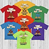 Doc-Happy-Sneezy-Grumpy-Sleepy-Dopey-Bashful Seven Dwarfs Squad Team Group Halloween Costume Shirt Customized Handmade Hoodie/Sweater/Long Sleeve/Tank Top/Premium T-shirt
