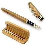 NUOLUX Moyen plume stylo plume bambou naturel écrit Pen avec convertisseur...