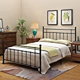Metal Bed Frame Foundation with Headboard and Footboard Sturdy/ No Squeaky Premium Heavy Duty Steel Slabs (Queen, Black)