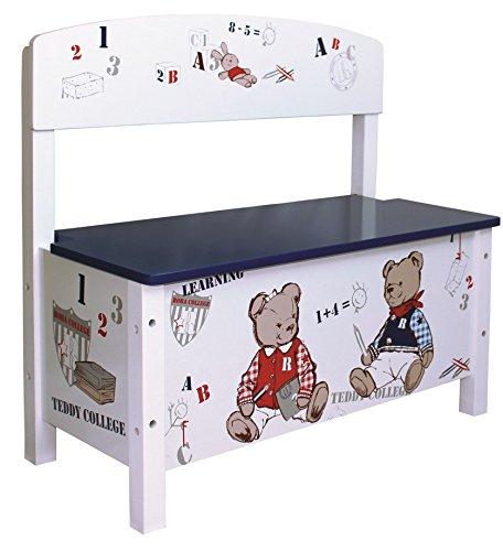 roba Truhenbank \'Teddy College\', Sitzbank für Kinder, Kindermöbel zum Sitzen und Aufbewahrung von Spielzeug, weiß bedruckt