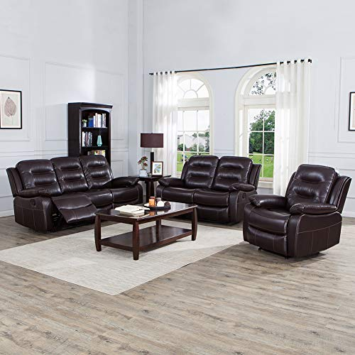 JUNTOSO 3 Pieces Recliner Sofa Sets Bonded Leather Lounge Chair Loveseat Reclining Couch for Living Room-Brown