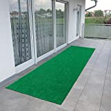 Ottomanson Evergreen Collection Indoor/Outdoor Green Artificial Grass Turf Solid Design Runner Rug, 3'0' x 7'3', 3' x 7'3'