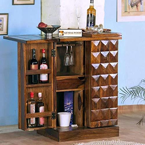 Hariom Handicraft Pre-Assemble Sheesham Wood Stylish Bar Cabinet / Wine Rack With Wine Glass Storage - Living Room Furniture