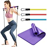 Pilates Bar Workout Kit with Resistance Bands and Yoga Mat - Home Exercise Equipment for Women and Men