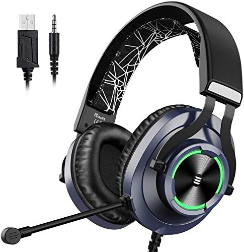 EKSA Wired Gaming Headset PS4 Xbox One Headset with Noise Cancelling Mic & RGB Light - Gaming Headphones for PC, Laptop, Xbox One Controller (Adapter Not Included), PS4, Nintendo Switch - 3.5mm cable