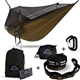 Everest Double Camping Hammock with Mosquito Net   Bug-Free Camping, Hiking, Backpacking & Survival Outdoor Hammock Tent   Reversible, Integrated, Lightweight, Ripstop Nylon   Khaki/Woodland/Net Black