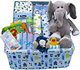 Bundle of Joy Deluxe Baby Girl or Boy Gift Basket (Medium) | 21 Piece New Baby Gift Set (Blue)