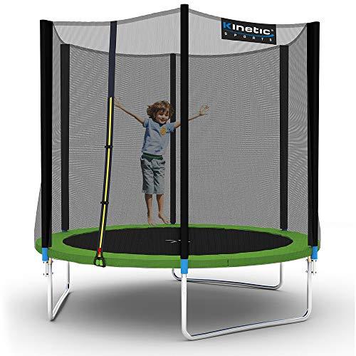 Kinetic Sports Outdoor Gartentrampolin Ø 250 cm, TPLH08, Komplettset inklusive Sprungtuch aus USA PP-Mesh +Sicherheitsnetz +Randabdeckung, bis 120kg, GS-geprüft,UV-beständig, GRÜN