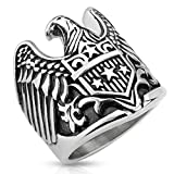 Carolina Glamour Collection Jewelry Trends Stainless Steel American Eagle Shield Large Biker Ring Size 12