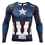 HIMIC E77C Hot Movie Super Hero Quick-Drying ElasticT-Shirt Costume (Small,Captain 5)