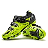 Santic Cycling Shoes Men SPD Mountain Bike Lock Shoes MTB Cycling Accessories Breathable Self-Locking Shoes Green 42