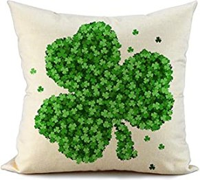 FIBEROMANCE St Patricks Day Pillow Cover 18x18 Green Clover Farmhouse Happy St Patricks Day Decorations Lucky Decorative Cushion Cover Pillow Case for Sofa Couch Spring Home Decor F108