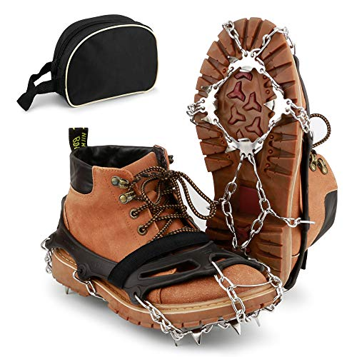 BROTOU Crampones, 19 Dientes Tacos de tracción Nieve y Hielo Tracción para Invierno Deportes Montañismo Escalada Caminar Alpinismo Cámping Acampada Senderismo 2