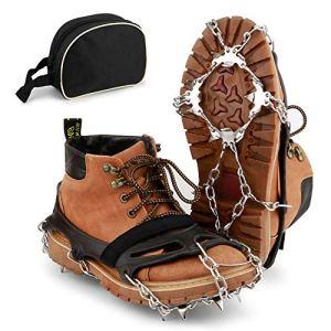 BROTOU Crampones, 19 Dientes Tacos de tracción Nieve y Hielo Tracción para Invierno Deportes Montañismo Escalada Caminar Alpinismo Cámping Acampada Senderismo 4