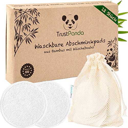 Abschminkpads waschbar aus 100{774f1431816e1b6946d741e1226a81bfb0297b4efb2fc9973f0f4eaf9bfbfe23} Bambus | 12 x Wattepads Wiederverwendbar mit Baumwolle Wäschenetz | Wiederverwendbare Reusable Cotton Pads für Gesichtsreinigung | TrustPanda® | Made in EU |