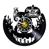 Toffy Workshop Nightmare Before Christmas Vinyl Record Wall Clock - Exciting guestroom Decor idea for Children, Adults, Men and Women - Jack and Sally - Horror Decorations Unique Art Design - Poster
