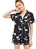 Floerns Women's Notch Collar Short Sleeve Sleepwear Two Piece Pajama Set Multicolor S
