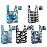 Grocery Bags Reusable 5 Pack Shopping Bags Foldable Machine Washable X Large Bags Sturd Lightweight Tote Bags Print Reusable Bags Bulks