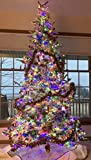 1,660 LED Lights! 7.5 Prelit Flocked Bavarian Pine Christmas Tree, Switch Between Clear, Multicolor, and 8 Light Themes with Remote Control, Natural Like Fresh Snow Look, includes Storage Bag