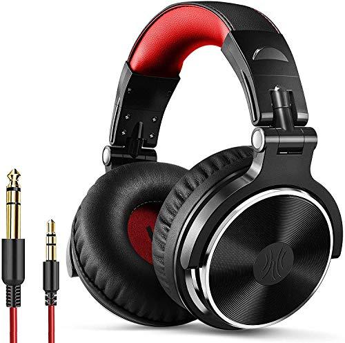 OneOdio Auriculares DJ, Auriculares de Estudio, Auriculares con Cable Sobre la Oreja, Auriculares Sonido Estéreo Alta Definición con Micrófono, 50mm Controladores, Orejeras Proteicas, Rojo