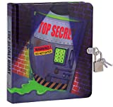 MOLLYBEE KIDS Top Secret Glow in The Dark 6.25' Lock and Key Diary for Boys and Girls, 208 Lined Pages