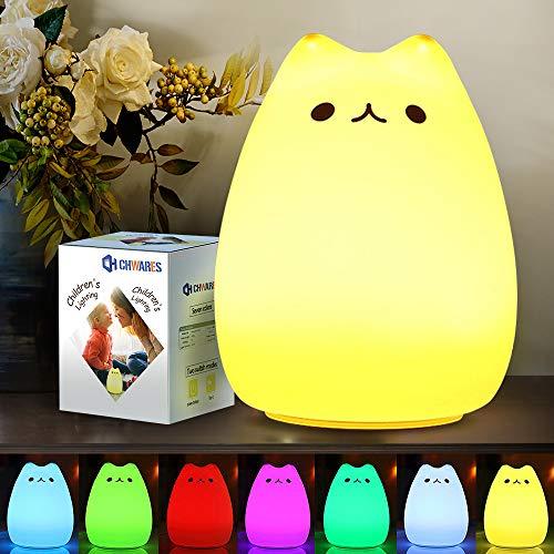 CHWARES Luce notturna a LED per bambini, in silicone, lampada da comodino, con illuminazione a 7 colori, funzione touch, USB, luce notturna per la cameretta dei bambini, compleanno,regalo,ricaricabile