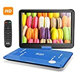 SUNPIN 17.9' Portable DVD Player with 15.6 inch Large HD Swivel Screen, Long Lasting Rechargeable Battery, Support USB/SD Card/AV in&Out and Multiple Disc Formats, Louder Stereo Speaker, Blue