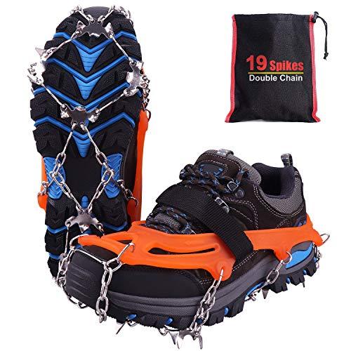 Rakaraka Crampones Nieve Hielo, 19 Dientes Tacos de tracción Nieve y Hielo Tracción para Invierno Deportes Montañismo Escalada Caminar Alpinismo Cámping Acampada Senderismo 3