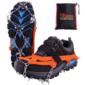 Rakaraka Crampones Nieve Hielo, 19 Dientes Tacos de tracción Nieve y Hielo Tracción para Invierno Deportes Montañismo Escalada Caminar Alpinismo Cámping Acampada Senderismo (Orange, M) 10