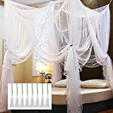 Twinkle Star 4 Corner Post Bed Canopy, Elegant Curtain Net for Full/Queen/King Size Bed (White)