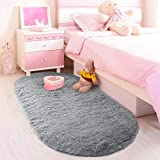 LOCHAS Luxury Velvet Fluffy Soft Children Rugs Room Mat Modern Shaggy Area Rug for Bedroom Home Decor 2.6' x 5.3', Gray