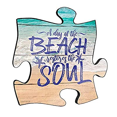 """✅ 12"""" X 12"""" WALL ART: Reminisce on your favorite beach trips with this 12"""" x 12"""" puzzle piece wall art. Printed onto this unique home décor is the quote """"A day at the beach restores the soul,"""" along with a scenic design of waves crashing onto the san..."""