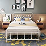 DUMEE Metal Bed Frame Full Size Platform with Vintage Headboard and Footboard Sturdy Premium Steel Slat Support,Textured White