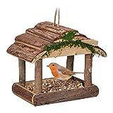 Relaxdays Vogelfutterhaus Holz, zum Aufhängen, HBT: 19 x 22 x 16,5 cm, Garten, Vogelfutterspender für Kleinvögel, Natur