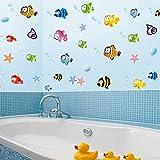 ROKOO Poissons Cartoon Underwater World Stickers Muraux PVC Décoration Maison pour Salle de Bain Chambre d'Enfants Salon Canapé Fond Amovible Autocollant Mural 80 * 160cm