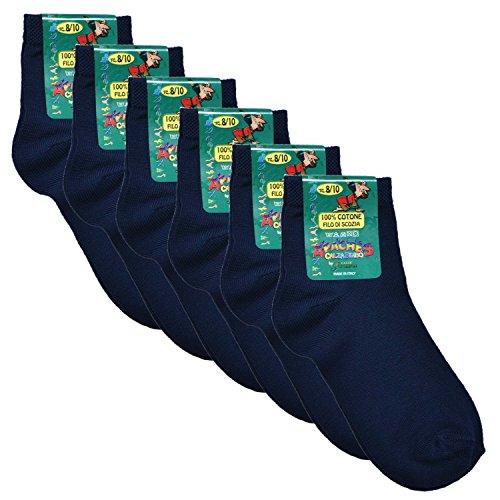 Fontana Calze, 6 paia di calze bimbo in Cotone Filo di Scozia elasticizzato modello Caviglia. BLU 31/34