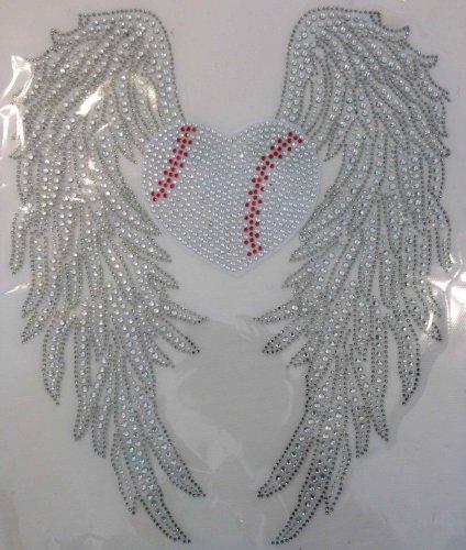 Large Wing with Heart shape Baseball Rhinestone Transfer