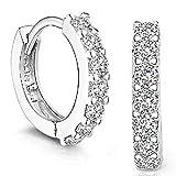 SANNYSIS 1Pair Beautiful Silvering Rhinestones Hoop Stud Earrings For Women-About Half an Inch (Health and Beauty)