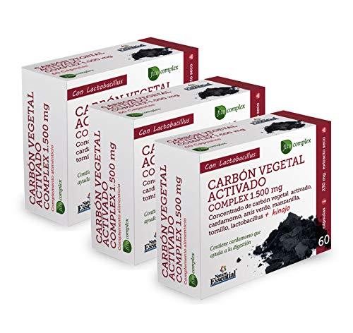 Nature Essential   Carbón vegetal activado (complex) 1500 mg   Extracto Seco 60 Cápsulas (Pack 3 unid.)