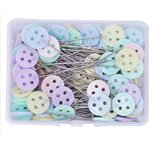 100pieces piatto testa dritta Pins Cartoon testa cucitrice Pins Quilting spilli per cucire Diy Progetti sarto decorazione dei monili (Button)
