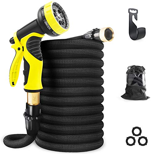 Aterod Expandable Garden Hose, 50ft Strongest Flexible Water Hose, 9 Functions Sprayer with Double Latex Core, 3/4' Solid Brass Fittings, Extra Strength Fabric - Upgraded Lightweight Expanding Hose