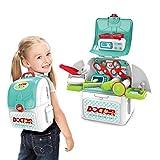 T-XYD Mochila de médicos para niños 2 en 1 Kit de Caja médica de Dentista para niños y niñas Juguete Educativo Playsets Idea Cumpleaños