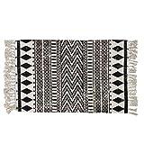 USTIDE Cotton Braided Black&Cream Bohemian Rag Rug Washable Decorative Porch Doormat Hand Woven Tassel Rug Christmas Carpet, 23
