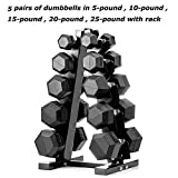 papababe Dumbbells Rubber Encased Hex Dumbbell Free Weights Dumbbells Set with Rack Man Women Home Weight Set Dumbbell with Stand (A Pair of 5 10 15 20 25 LB Dumbbell with Dumbbell Rack)