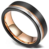 King Will Loop Tungsten Carbide Wedding Band 6mm Rose Gold Line Ring Black and Silver Brushed...