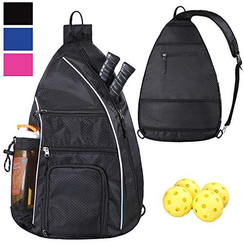 LLYWCM Crossbody Backpack for Sports and Travel - Pickleball Bag for Men and Women (Black)