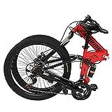 Mountain Bike, Folding Mountain Bike 24 Inch 21 Speed Red Speed Folding Men B-i-k,City Riding Bikes, Office Workers
