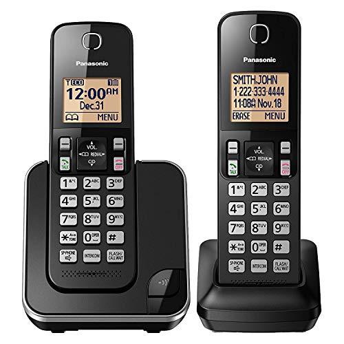 Panasonic Expandable Cordless Phone System with Amber Backlit Display – 2 Handsets – KX-TGC352B (Black)