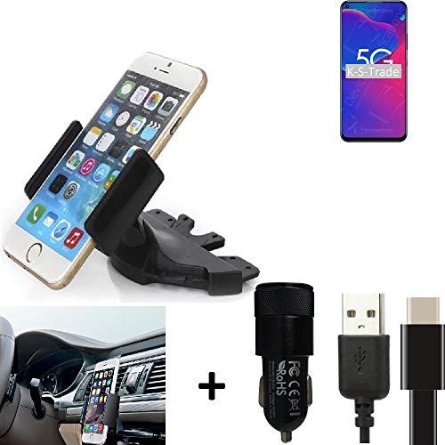 K-S-Trade Top Set Compatibile con -ZTE Axon 11 SE- + Caricabatteria Supporto Slot CD Smartphone Compatibile con Auto Dispositivi di Navigazione Montaggio Autoradio Titolare Staffa Compatibile con